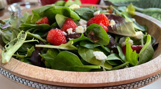 Fresh Strawberry and Date Salad with Creamy Bleu Cheese