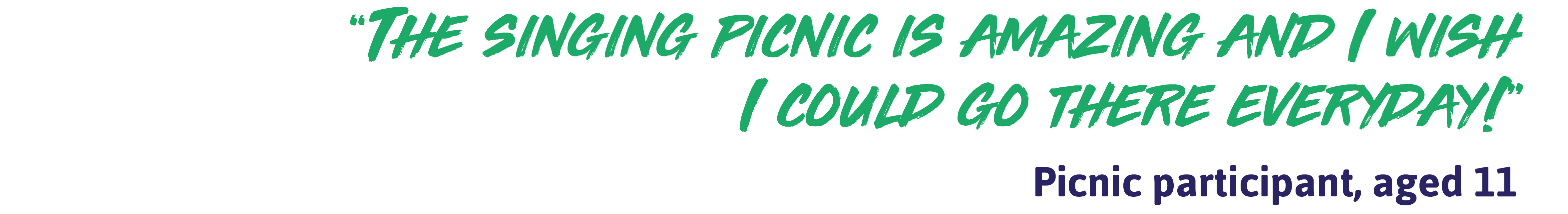 "Quote: ""The singing picnic is amazing and I wish I could go there everyday!"" - Picnic participant, aged 11"