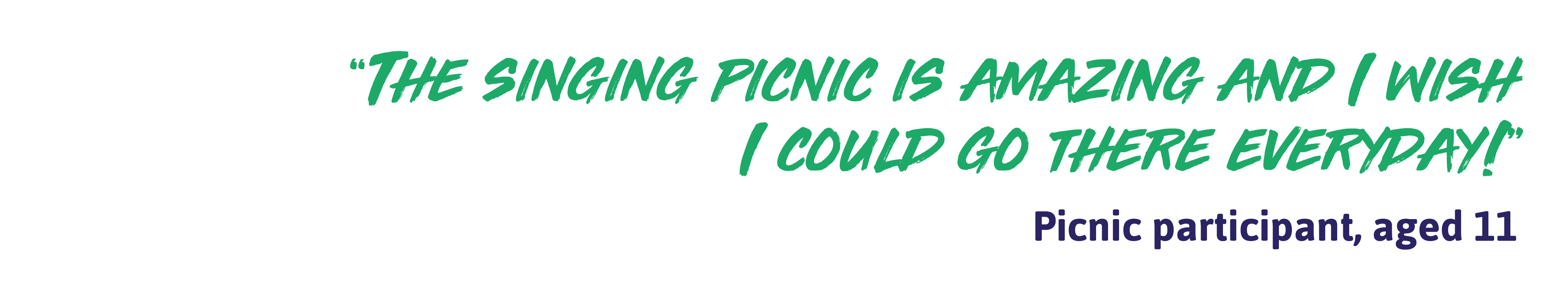"""Quote: """"The singing picnic is amazing and I wish I could go there everyday!"""" - Picnic participant, aged 11"""