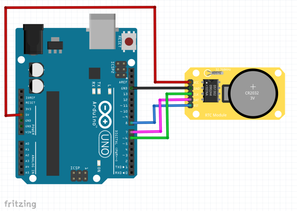 medium resolution of wiring setup the module from the ide and show the time on the serial monitor