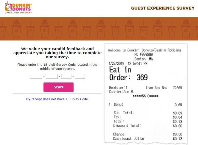 Dunkin Donuts Survey Codes