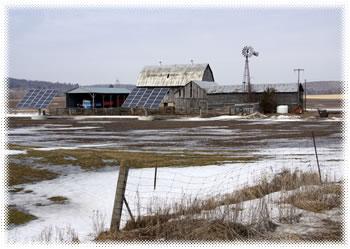 farm with solar panels