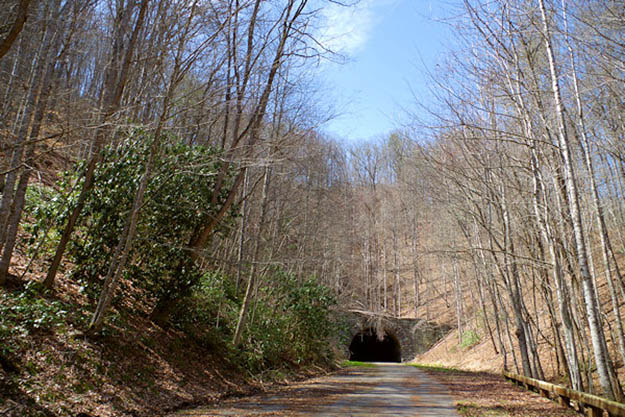 This eight-mile road abruptly ends in this tunnel, hence its name. Via romanticasheville.com