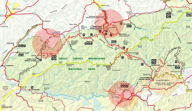 Communication might be a challenge on your Smoky Mountains camping. Via cellularmaps.com
