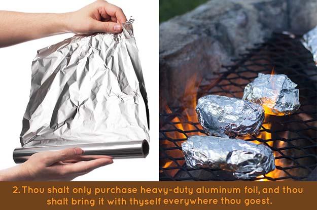 10 commandments of campfire cooking