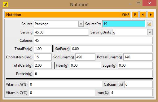 nutrition database