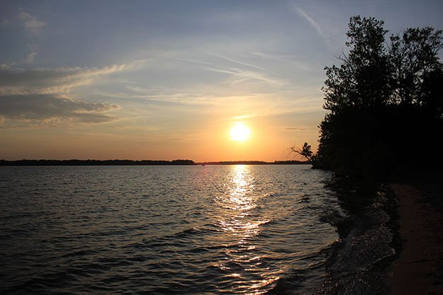 The sun sets over the pond at Buckhorn State Park, Wisconsin.