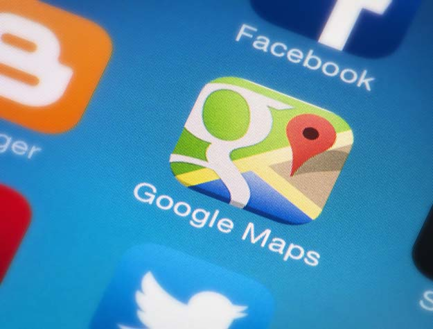 A close-up of the Google Maps icon on an iPhone.