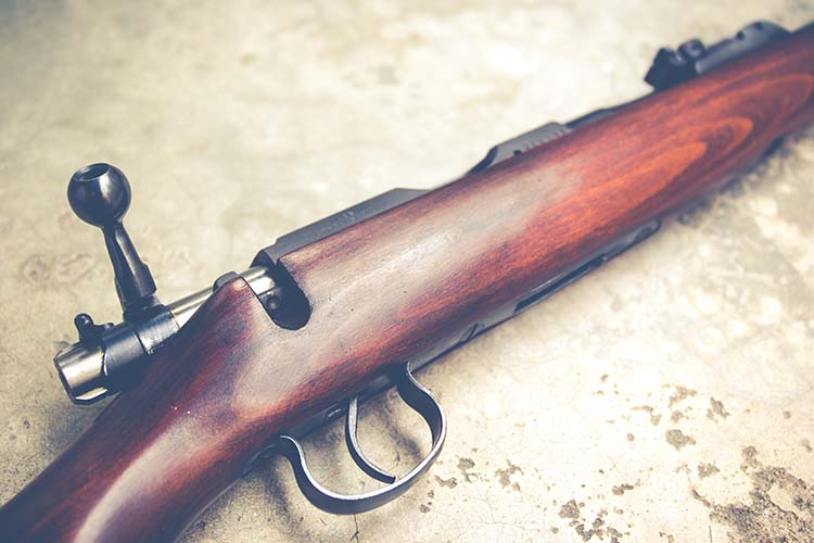 Close-up of a .22 long rifle on a wood background