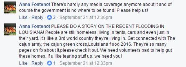 Facebook comments from reader Anna Fontenot about the August 2016 floods in Louisiana