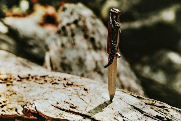 A knife stuck on wood | Best Survival Gear