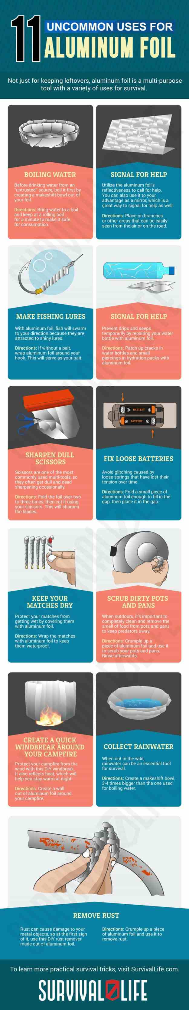 Infographic | Aluminum Foil | Uncommon Aluminum Foil Survival Uses | Aluminum Foil Survival Uses | uses for aluminum foil