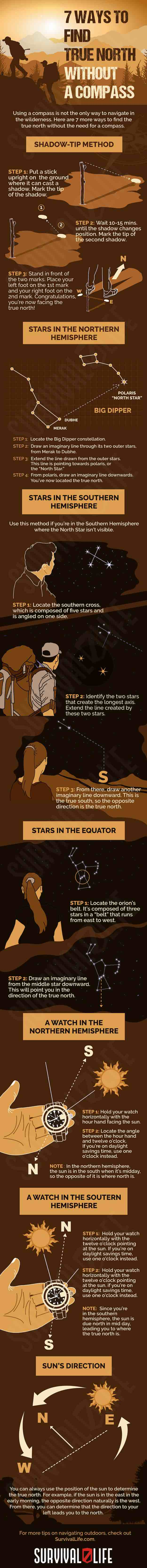 Infographic   Ways To Find True North Without A Compass