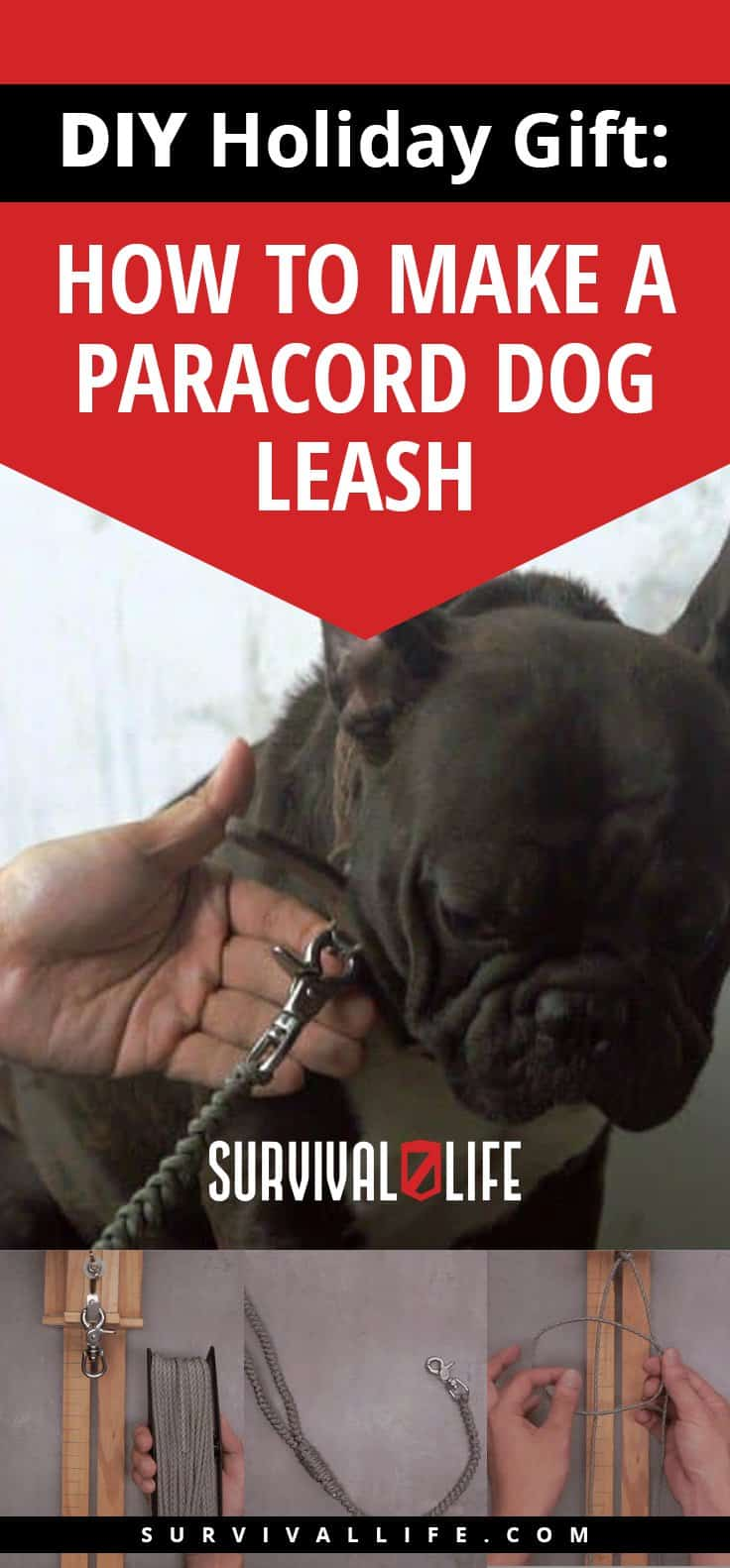 Placard | DIY Holiday Gift: How To Make A Paracord Dog Leash | paracord dog leash round braid