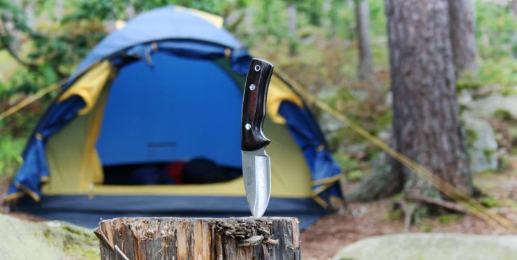 Camping knife and blue tent | How To Sharpen A Knife At Camp [Video]