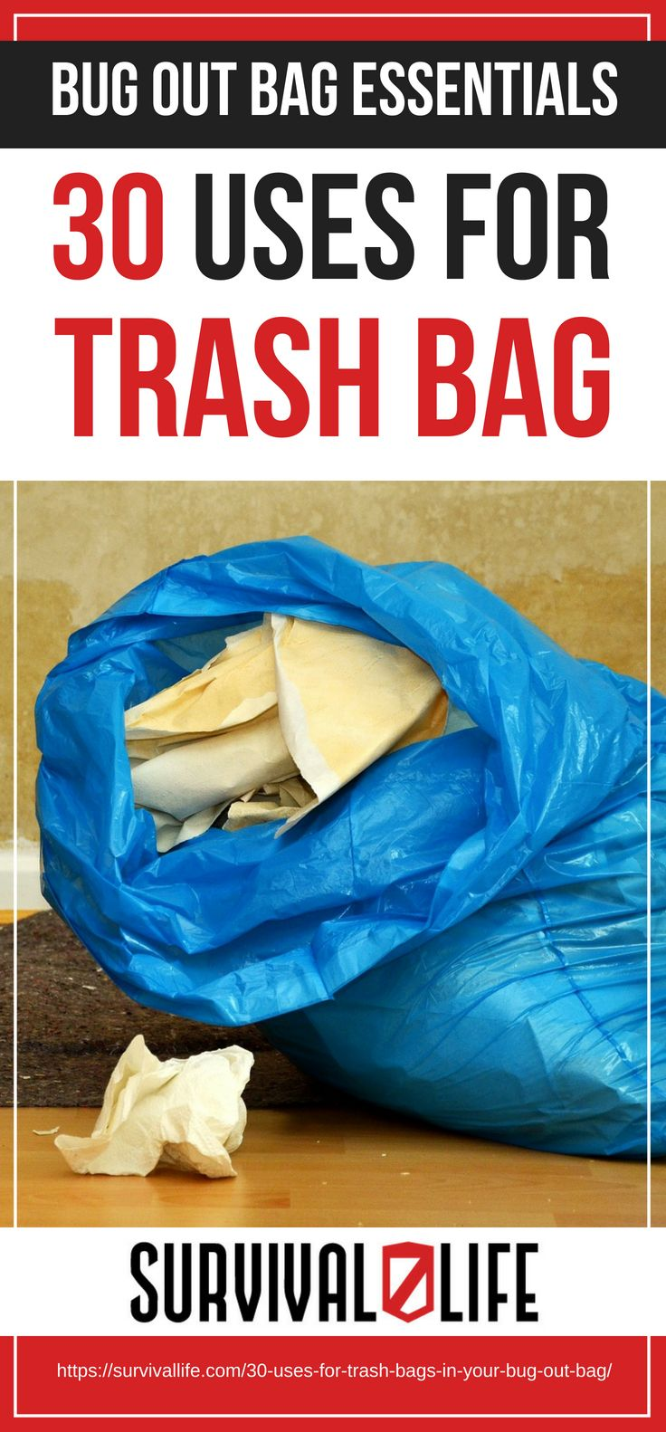 Uses For Trash Bags | Bug Out Bag Essentials | https://survivallife.com/30-uses-for-trash-bags-in-your-bug-out-bag/