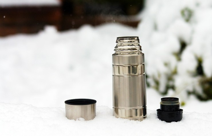 steaming thermos flask on hike | how to melt snow