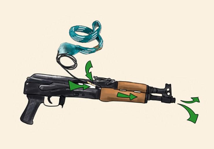 feeding brass weight in gun | bore snake | orig