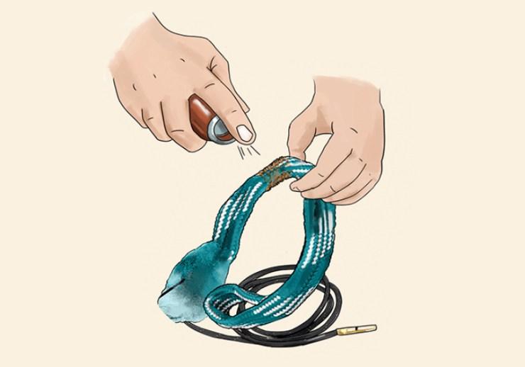 gun solvent on bore snake | bore snake | orig