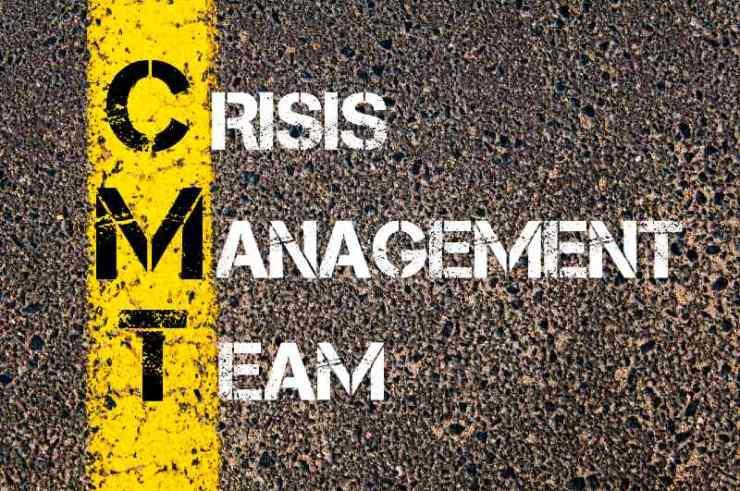 Crisis Management Team written over road marking yellow paint line-Blackout Threats-ss