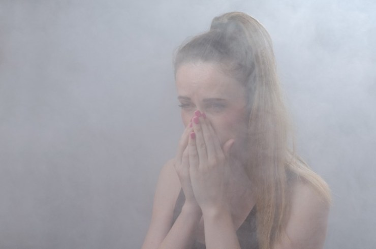 The girl suffocates from thick smoke-Blackout Threats-ss