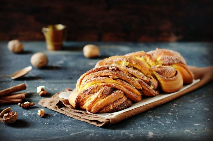 Cinnamon twisted loaf bread or babka on a dark wooden background-healthy camping meals
