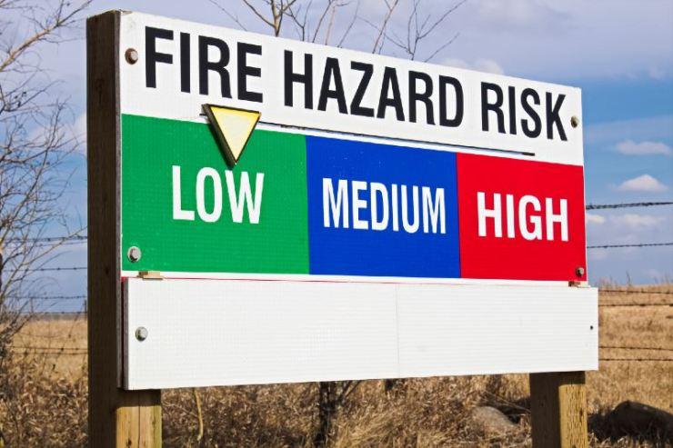 Fire hazard risk indicator sign-campfire