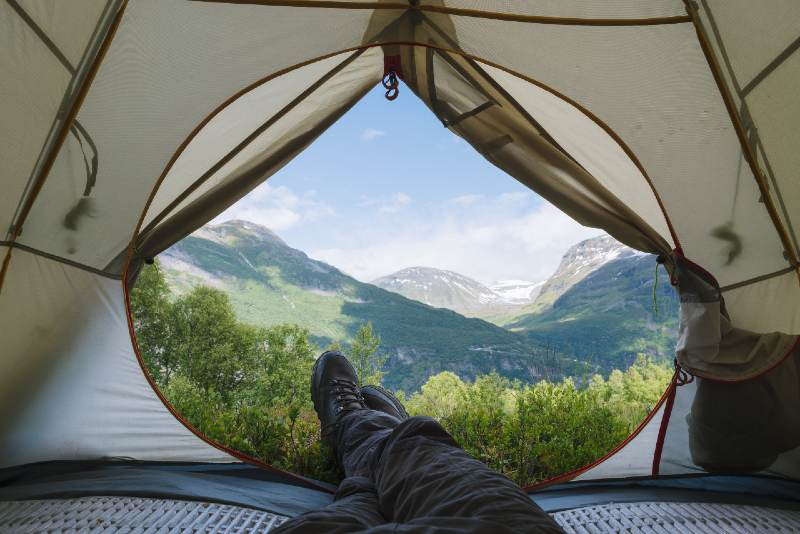 View from the tourist tent to the mountains-tent