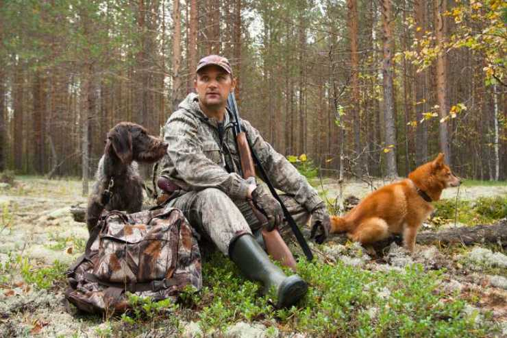 hunter with dogs during the rest on autumn hunting-summer hunting