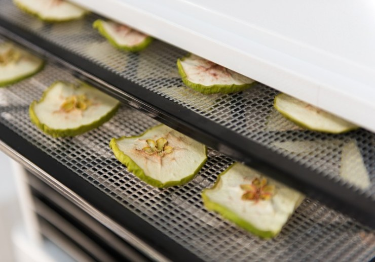 Dehydrating Sliced Granny Smith Apples in Excalibur | good foods to dehydrate