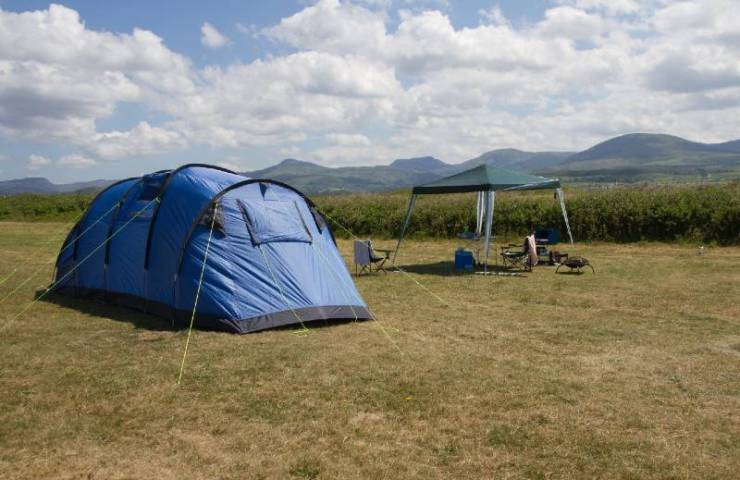 Large family tent and gazebo on Welsh coastal campsite-Camping In The Rain