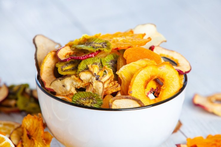 Organic Healthy Assorted Dried Fruit Mix close up. Dried fruit snacks | good foods to dehydrate