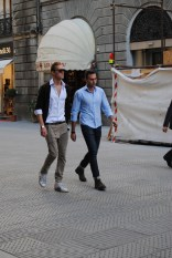 Stylish duo strolling Via Cavour