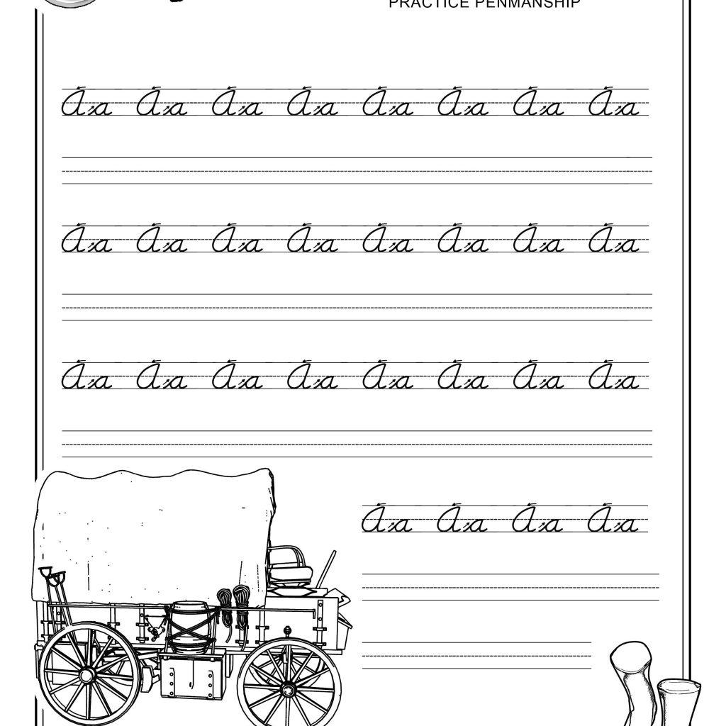 Free Printable Beginner Practice Cursive Worksheet A A Only