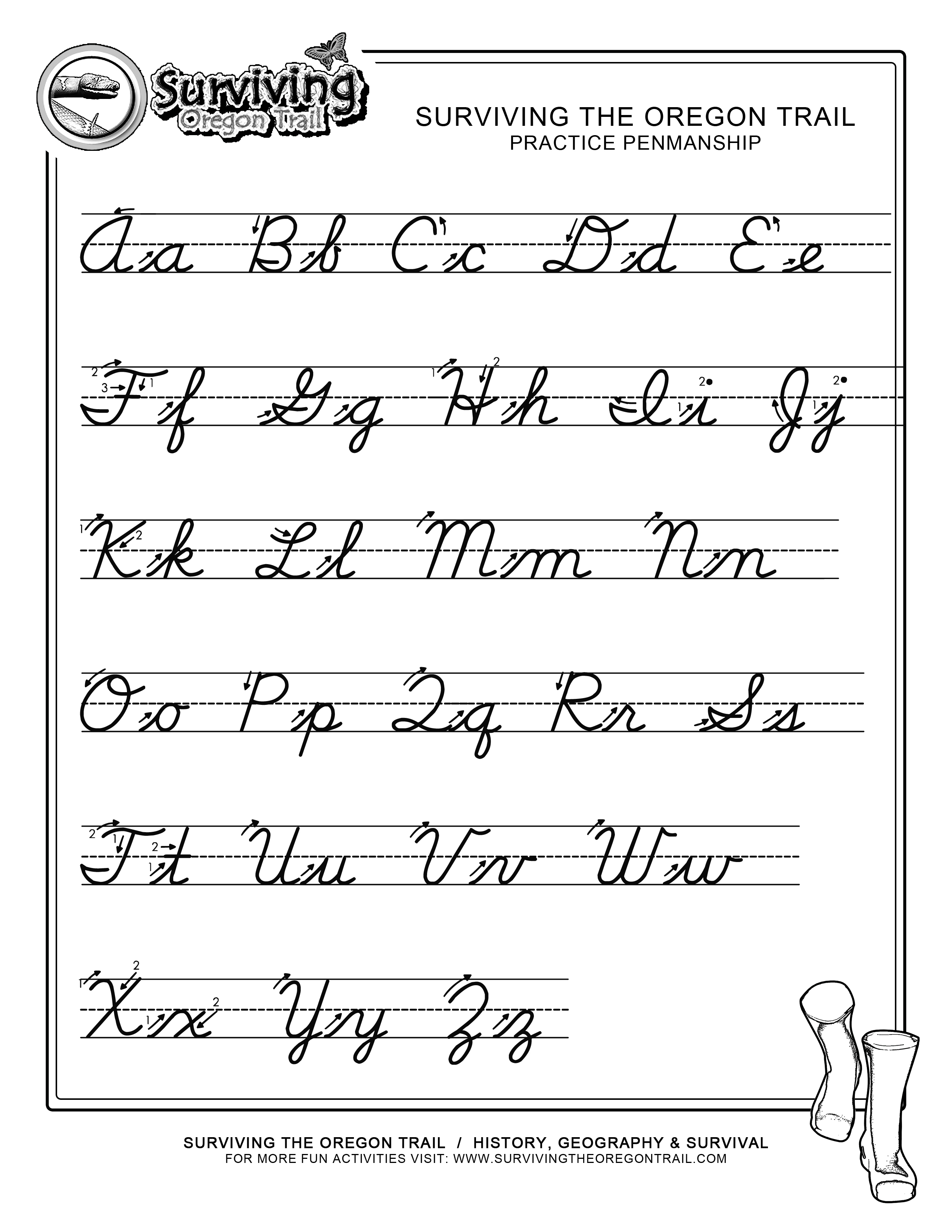 Free Abc S Cursive Worksheet X Large Surviving The Oregon Trail