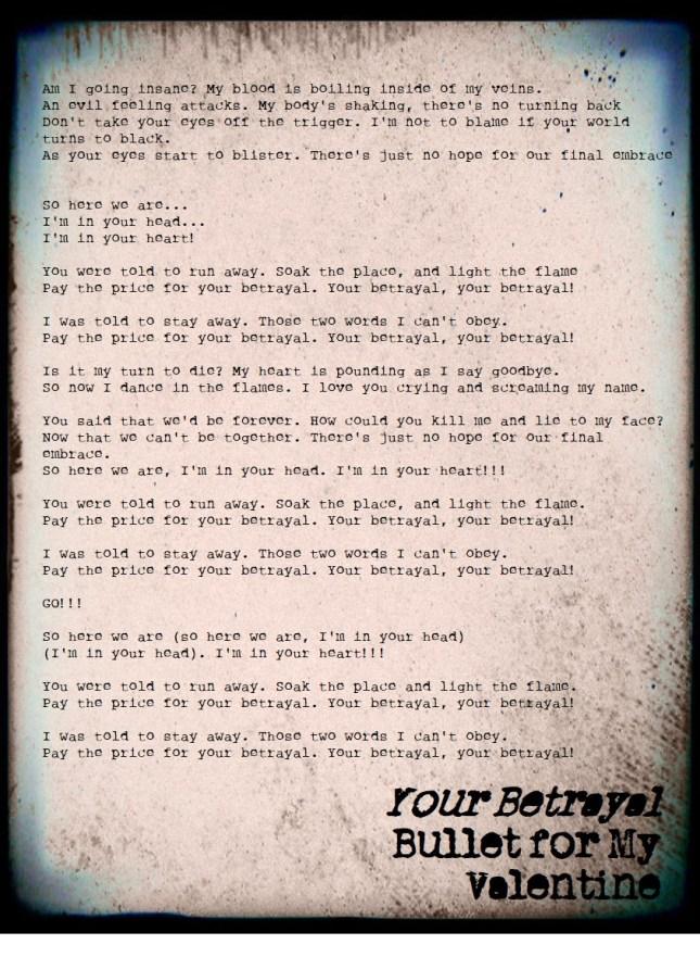 Your Betrayal Bullet For My Valentine Lyrics