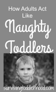 Ever have days your toddler acts more mature than you? Here are ways that adults act like toddlers, and how our children make us better adults.
