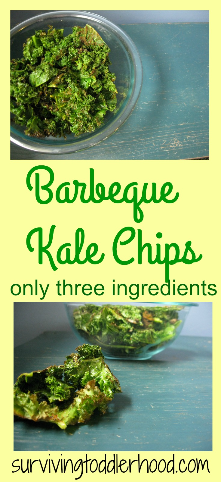 Barbeque Kale Chips. You only need three ingredients to make this new version of kale chips. It is the perfect way to use up your abundance of kale.