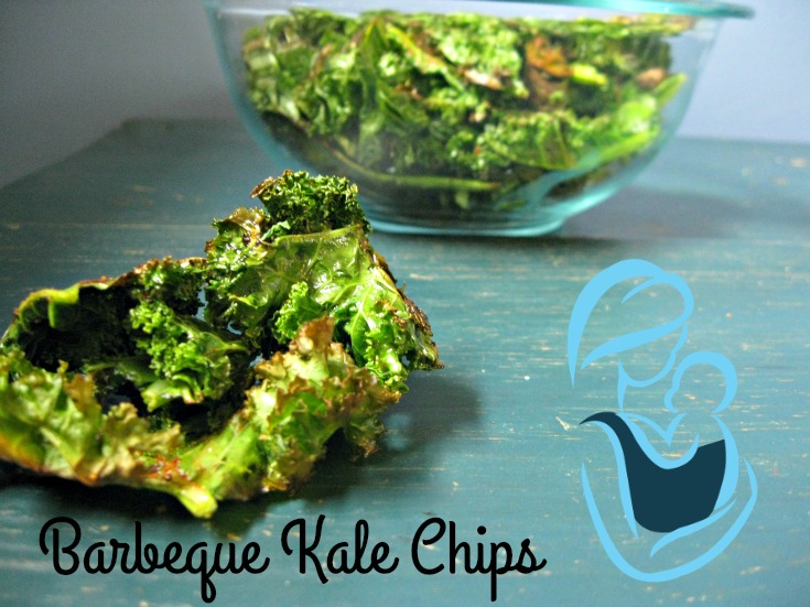 Barbeque Kale Chips- the perfect after school snack for hungry belies! Only three ingredients needed!