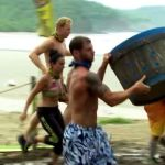 Castaways fill a barrel with water