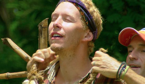 Tyler wets himself just a little on Survivor 2015
