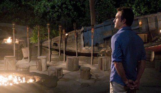 Survivor 2017 host Jeff Probst at Tribal Council
