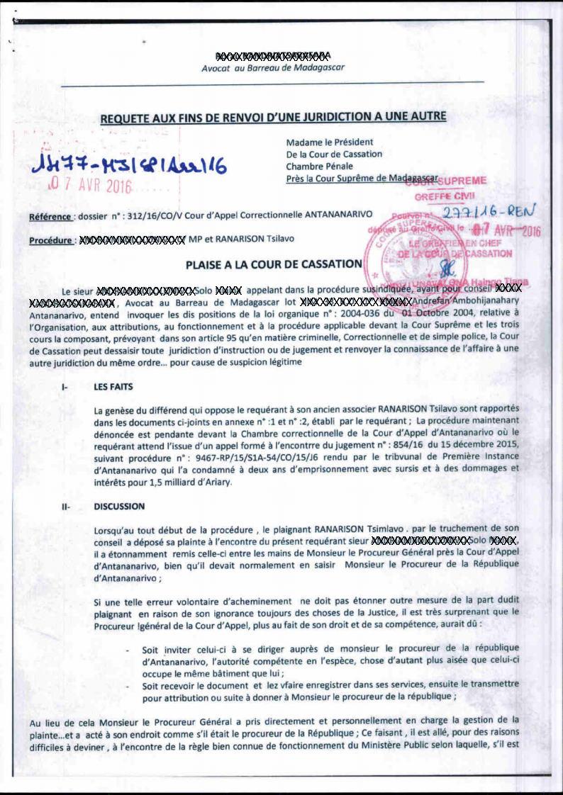 Renvoyer La Connaissance De Celle Ci à La Cour Du0027Appel De Fianarantsoa.