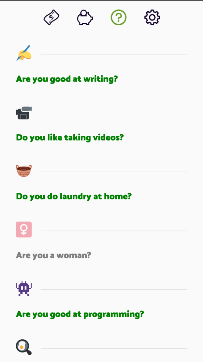 Screenshot of the App: Overview of answered questions