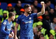 Striker Chelsea Olivier Giroud merayakan gol ke gawang Tottenham Hotspur pada menit 15 babak I. (Foto: Premierleague.com)