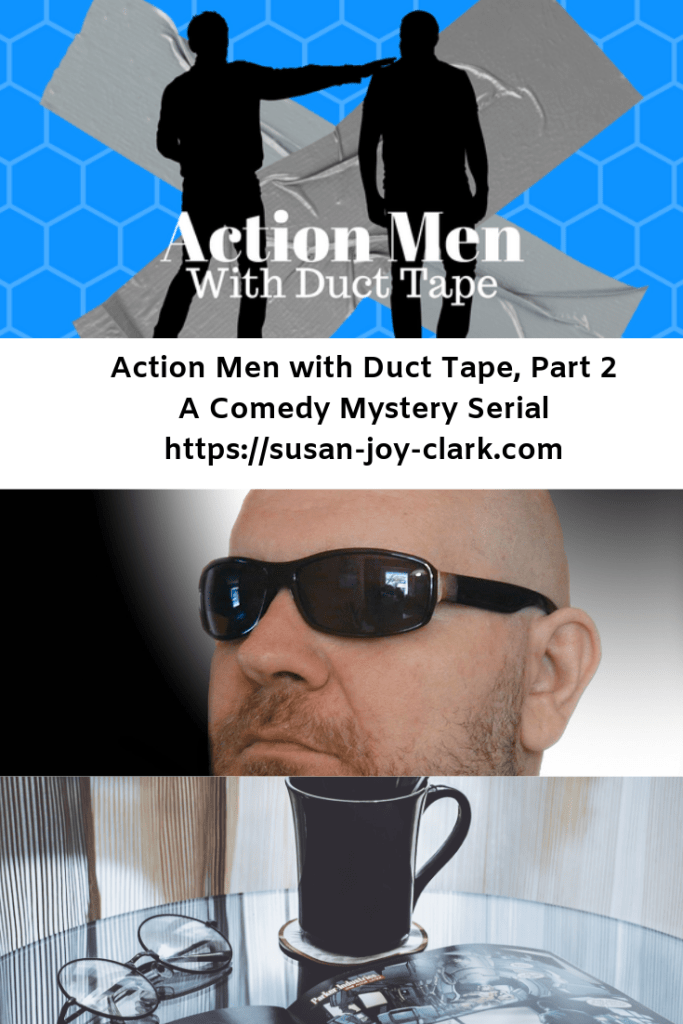 a photo collage showing an image of a bald, bearded man with sunglasses and an open comic book with a cup of coffee