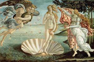 El nacimiento de Venus de Boticelli. Pintura renacentista