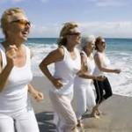 Ladies running on beach