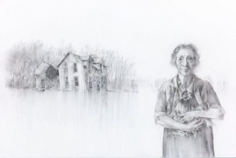 """FOUND, charcoal and gesso on board, 24""""x36"""""""