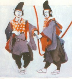 THE MIKADO, PALANQUIN BEARERS costume design, 1982